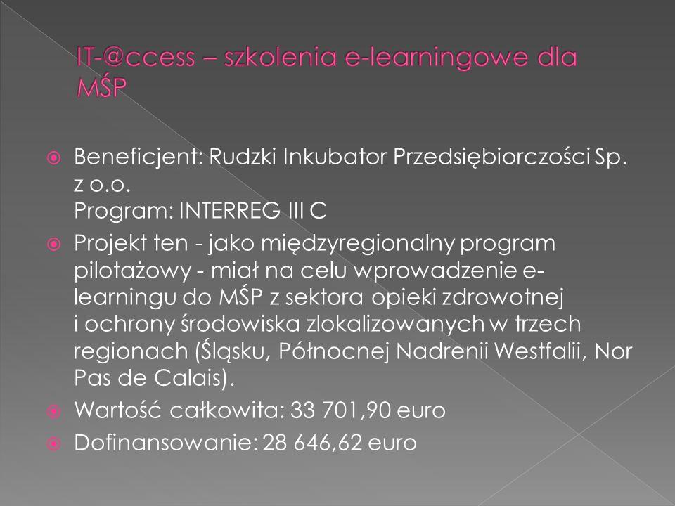 Beneficjent: Rudzki Inkubator Przedsiębiorczości Sp. z o.o. Program: INTERREG III C Projekt ten - jako międzyregionalny program pilotażowy - miał na c