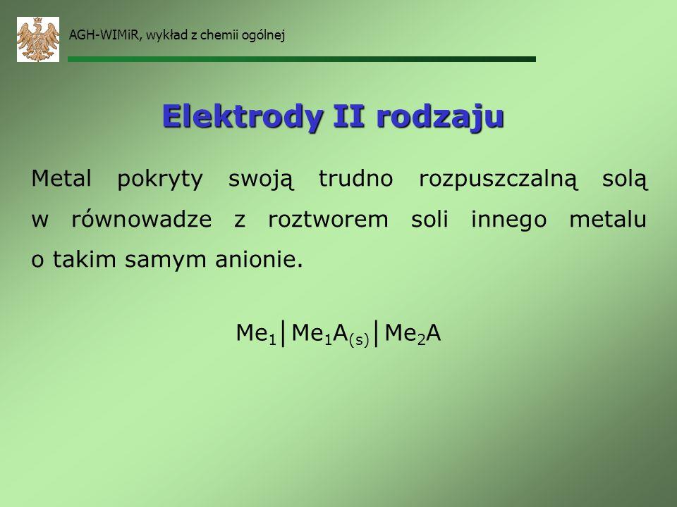 AGH-WIMiR, wykład z chemii ogólnej Elektrody metaliczne Me Me n+ – metali zanurzony w roztworze jonów własnych Me Me n+ + ne