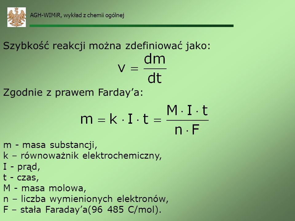 AGH-WIMiR, wykład z chemii ogólnej Szybkość reakcji elektrochemicznej O, R – współczynniki stechiometryczne. W stanie równowagi: Wiedząc, że: oraz: