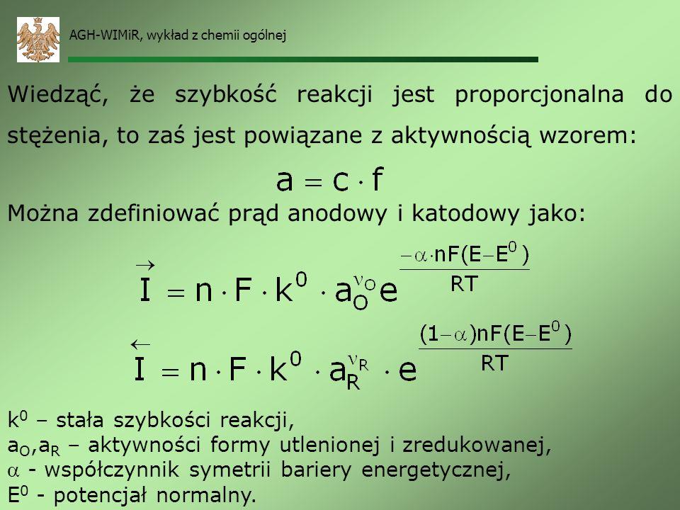 AGH-WIMiR, wykład z chemii ogólnej Łącząc poprzednie wzory otrzymujemy: prądem wymiany. Prąd anodowy jest równy prądowi katodowemu i osiąga wartość I