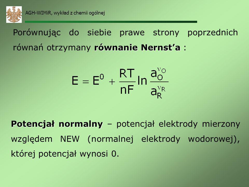 AGH-WIMiR, wykład z chemii ogólnej Wiedząć, że szybkość reakcji jest proporcjonalna do stężenia, to zaś jest powiązane z aktywnością wzorem: Można zde