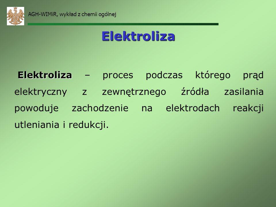 AGH-WIMiR, wykład z chemii ogólnej Bateria cynkowo–węglowa – ogniwo Leclanchego Zn|Zn +2 |NH 4 Cl|MnO 2 |C A: Zn Zn 2+ +2e K: 2NH 4 + +2e 2NH 3 +H 2 H