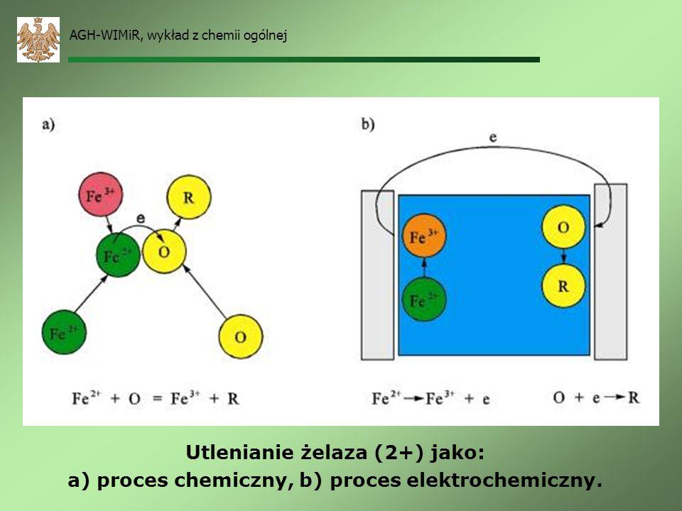 AGH-WIMiR, wykład z chemii ogólnej Jeśli procesy utleniania i redukcji zachodzą w tym samym czasie i miejscu – mamy do czynienia z procesem chemicznym