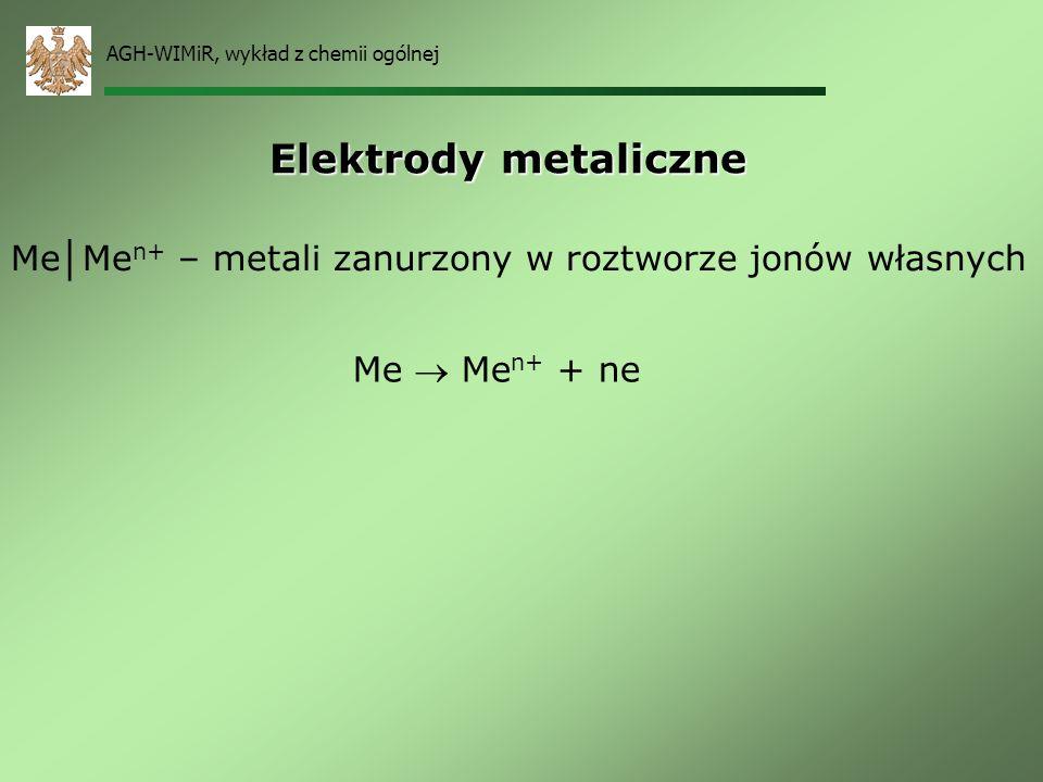 AGH-WIMiR, wykład z chemii ogólnej Nasycona Elektroda Kalomelowa (NEK) Przewodnik elektronów (Pt) połączony z metaliczną rtęcią (Hg) pokrytą kalomelem