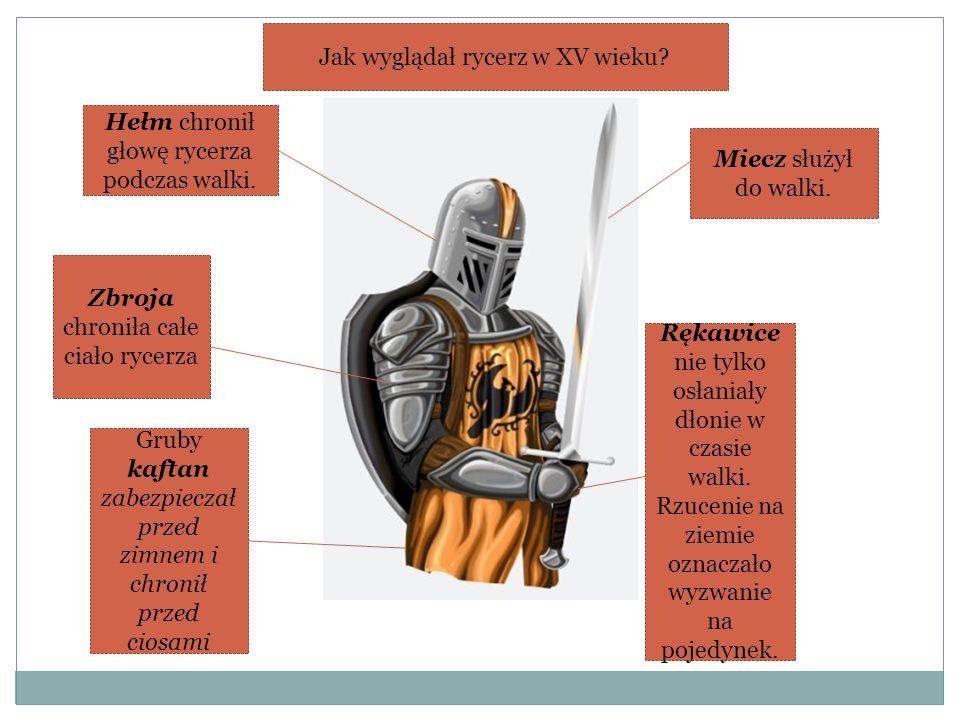 Hełm chronił głowę rycerza podczas walki. Rękawice nie tylko osłaniały dłonie w czasie walki. Rzucenie na ziemie oznaczało wyzwanie na pojedynek. Miec