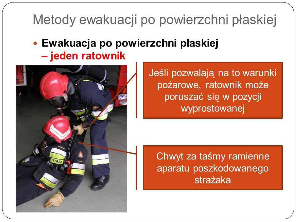 Metody ewakuacji po powierzchni płaskiej Ewakuacja po powierzchni płaskiej – jeden ratownik Jeśli pozwalają na to warunki pożarowe, ratownik może poru