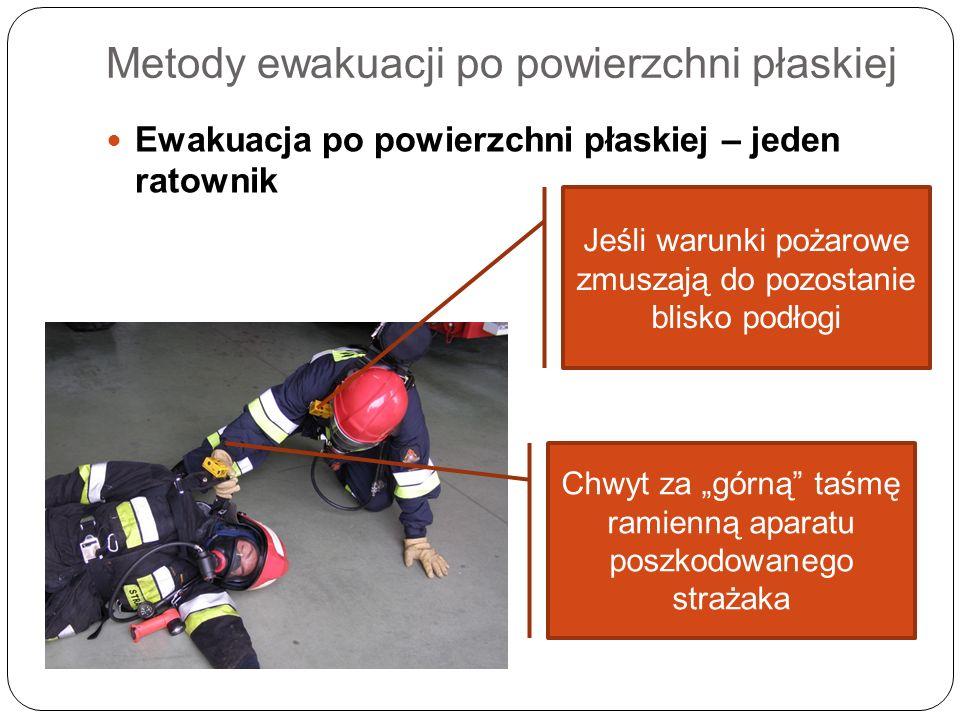 Metody ewakuacji po powierzchni płaskiej Ewakuacja po powierzchni płaskiej – jeden ratownik Jeśli warunki pożarowe zmuszają do pozostanie blisko podło