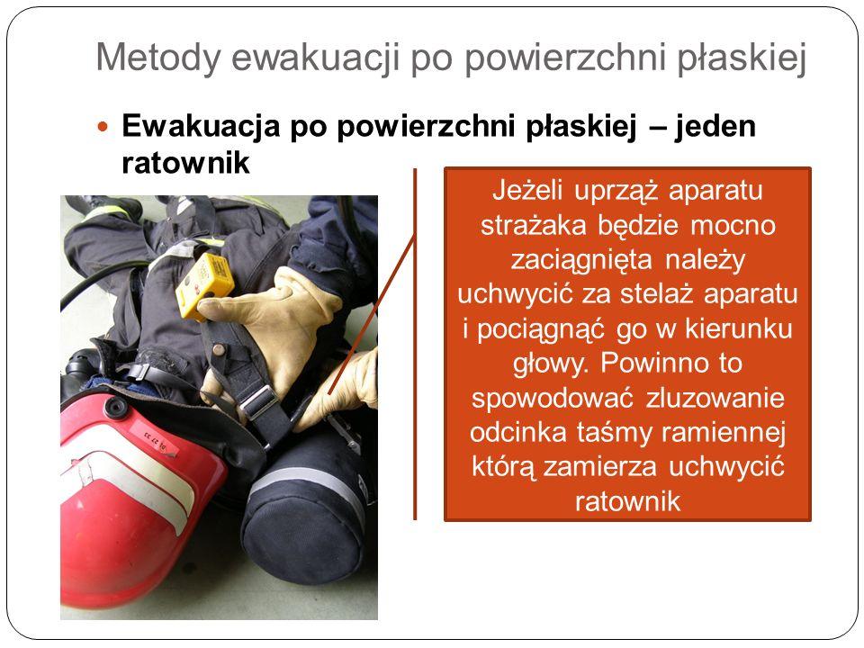Metody ewakuacji po powierzchni płaskiej Ewakuacja po powierzchni płaskiej – jeden ratownik Jeżeli uprząż aparatu strażaka będzie mocno zaciągnięta na