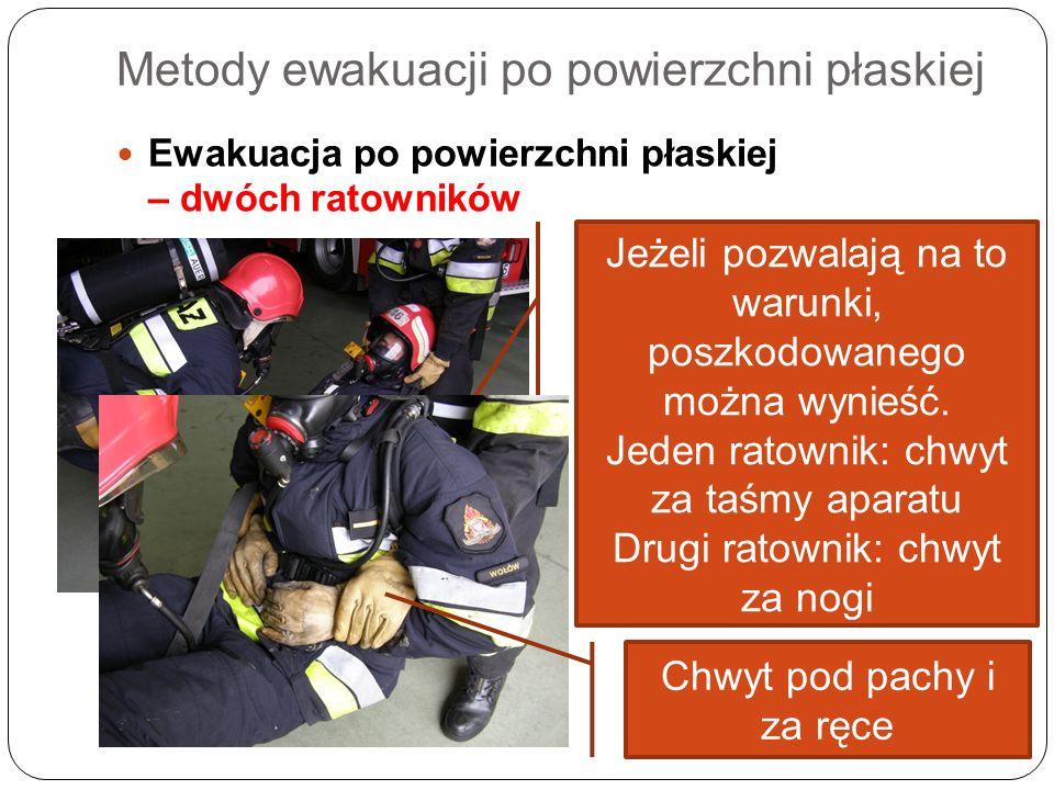 Metody ewakuacji po powierzchni płaskiej Ewakuacja po powierzchni płaskiej – dwóch ratowników Jeżeli pozwalają na to warunki, poszkodowanego można wyn