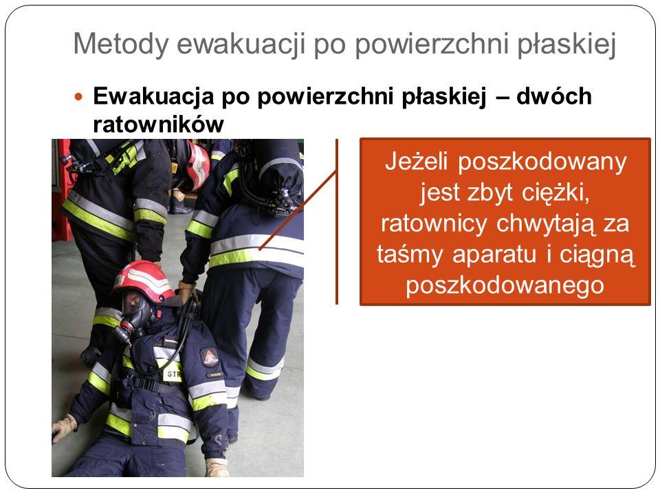Metody ewakuacji po powierzchni płaskiej Ewakuacja po powierzchni płaskiej – dwóch ratowników Jeżeli poszkodowany jest zbyt ciężki, ratownicy chwytają