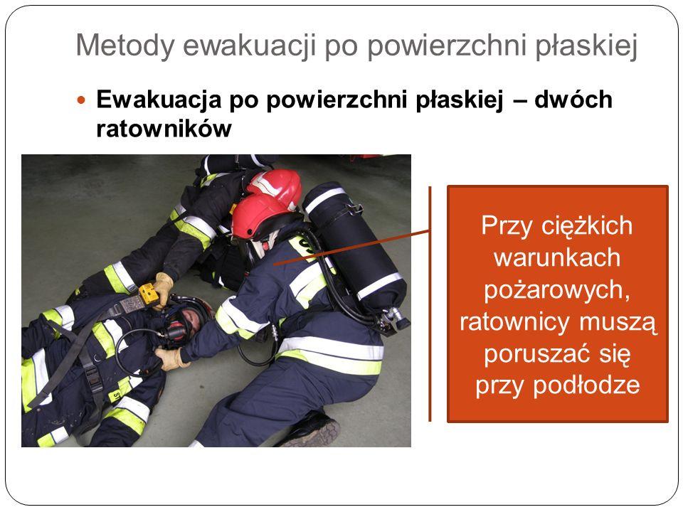 Metody ewakuacji po powierzchni płaskiej Ewakuacja po powierzchni płaskiej – dwóch ratowników Przy ciężkich warunkach pożarowych, ratownicy muszą poru
