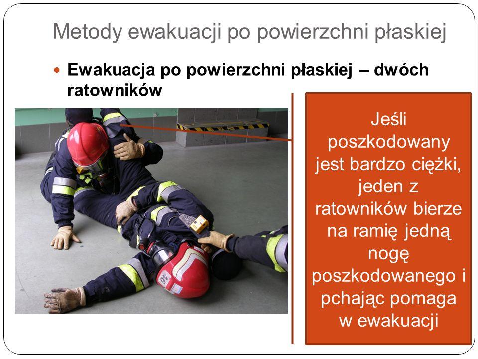 Metody ewakuacji po powierzchni płaskiej Ewakuacja po powierzchni płaskiej – dwóch ratowników Jeśli poszkodowany jest bardzo ciężki, jeden z ratownikó