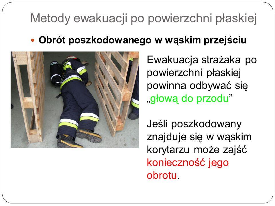 Metody ewakuacji po powierzchni płaskiej Obrót poszkodowanego w wąskim przejściu Ewakuacja strażaka po powierzchni płaskiej powinna odbywać sięgłową d