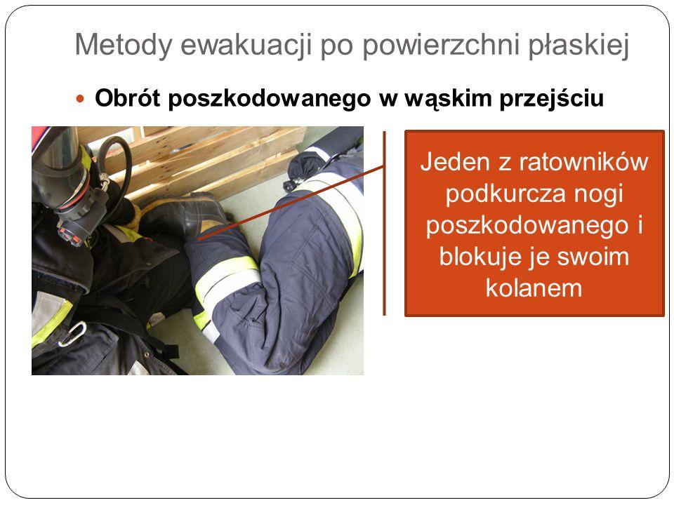 Metody ewakuacji po powierzchni płaskiej Obrót poszkodowanego w wąskim przejściu Jeden z ratowników podkurcza nogi poszkodowanego i blokuje je swoim k