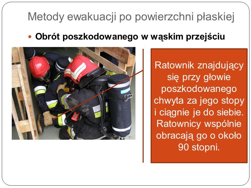 Metody ewakuacji po powierzchni płaskiej Obrót poszkodowanego w wąskim przejściu Ratownik znajdujący się przy głowie poszkodowanego chwyta za jego sto