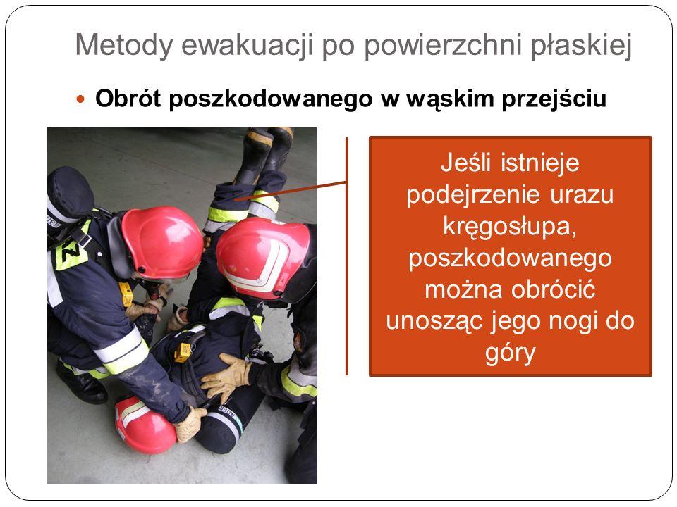 Metody ewakuacji po powierzchni płaskiej Obrót poszkodowanego w wąskim przejściu Jeśli istnieje podejrzenie urazu kręgosłupa, poszkodowanego można obr