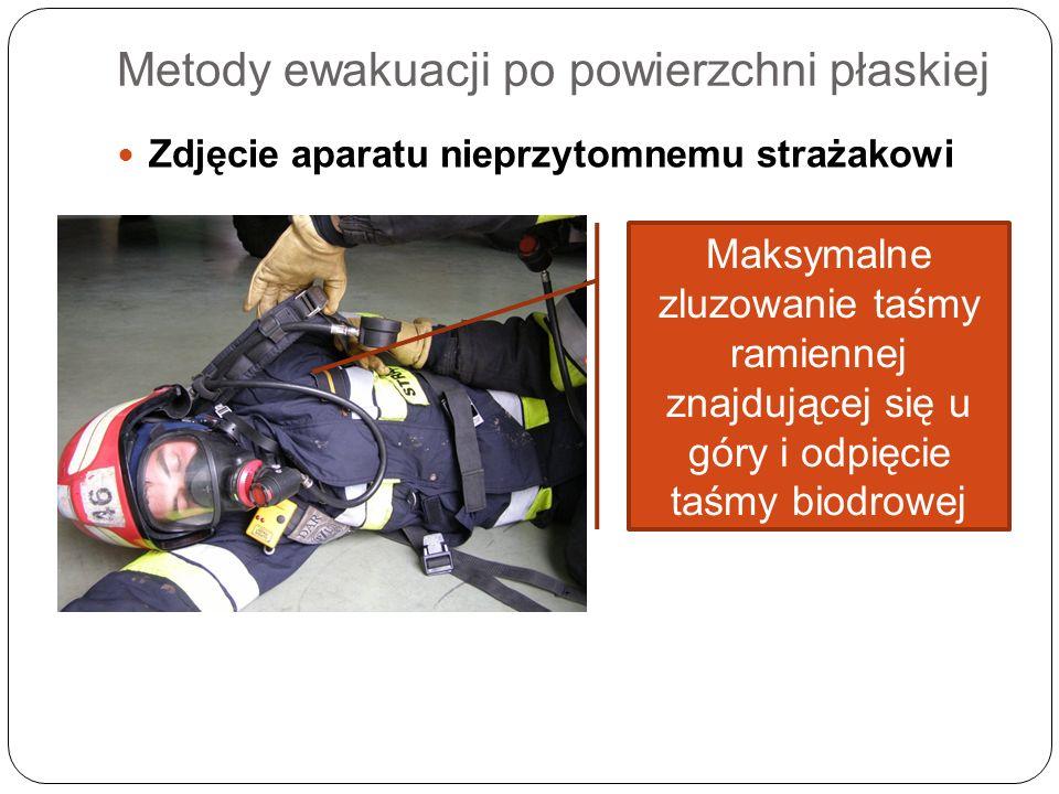 Metody ewakuacji po powierzchni płaskiej Zdjęcie aparatu nieprzytomnemu strażakowi Maksymalne zluzowanie taśmy ramiennej znajdującej się u góry i odpi