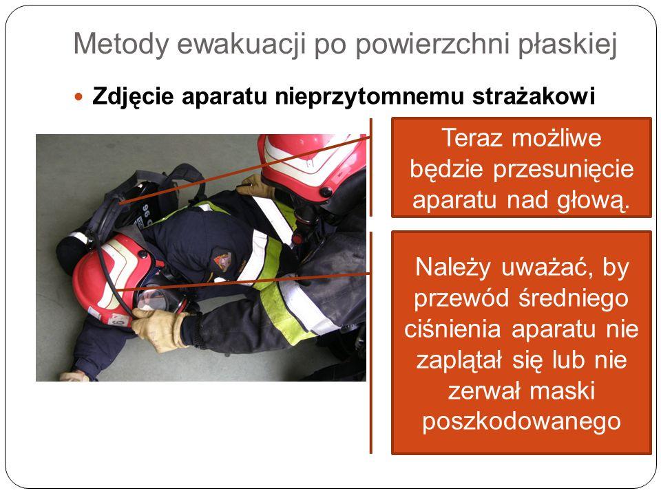 Metody ewakuacji po powierzchni płaskiej Zdjęcie aparatu nieprzytomnemu strażakowi Teraz możliwe będzie przesunięcie aparatu nad głową. Należy uważać,