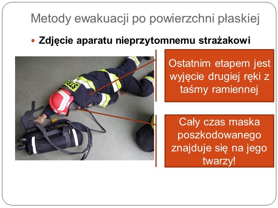 Metody ewakuacji po powierzchni płaskiej Zdjęcie aparatu nieprzytomnemu strażakowi Ostatnim etapem jest wyjęcie drugiej ręki z taśmy ramiennej Cały cz