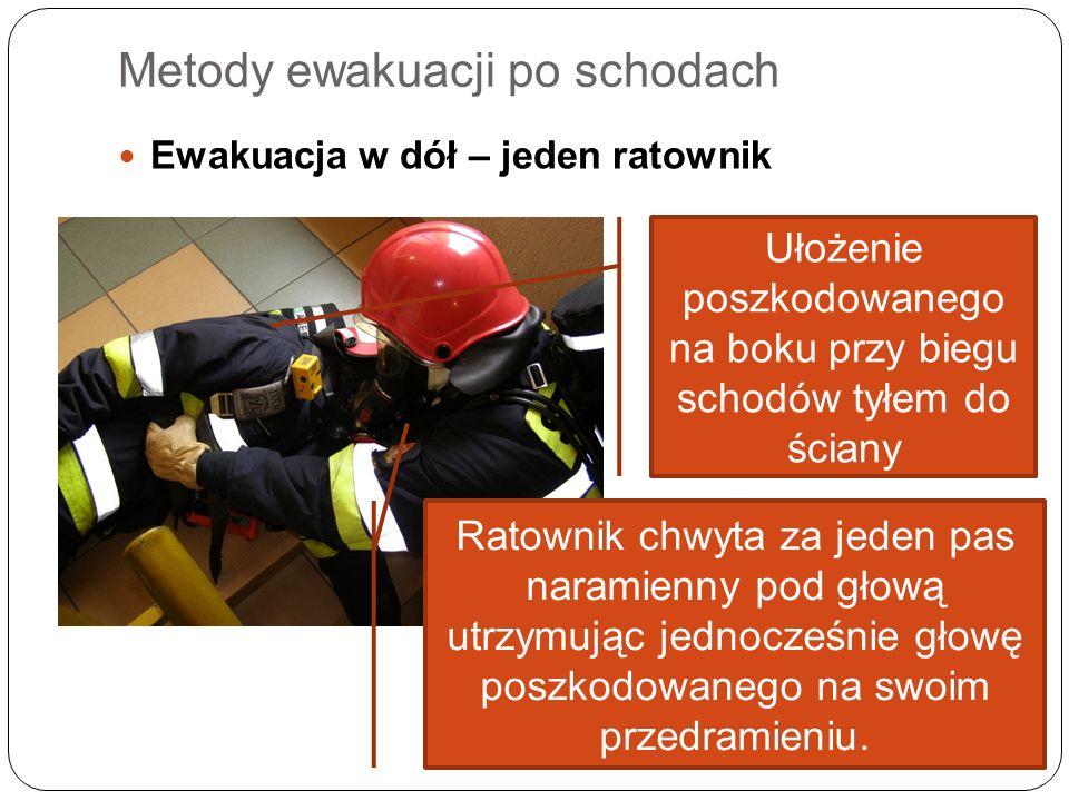 Metody ewakuacji po schodach Ewakuacja w dół – jeden ratownik Ułożenie poszkodowanego na boku przy biegu schodów tyłem do ściany Ratownik chwyta za je