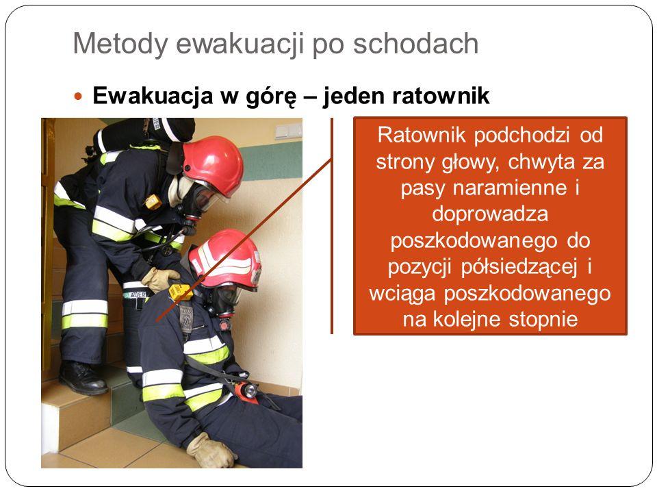 Metody ewakuacji po schodach Ewakuacja w górę – jeden ratownik Ratownik podchodzi od strony głowy, chwyta za pasy naramienne i doprowadza poszkodowane