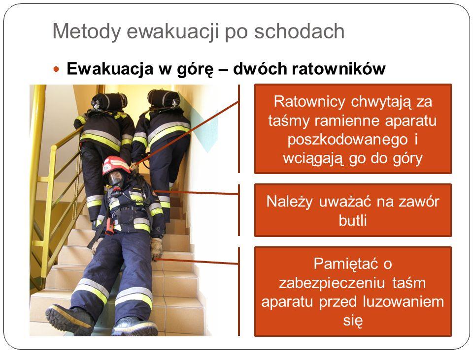 Metody ewakuacji po schodach Ewakuacja w górę – dwóch ratowników Ratownicy chwytają za taśmy ramienne aparatu poszkodowanego i wciągają go do góry Nal