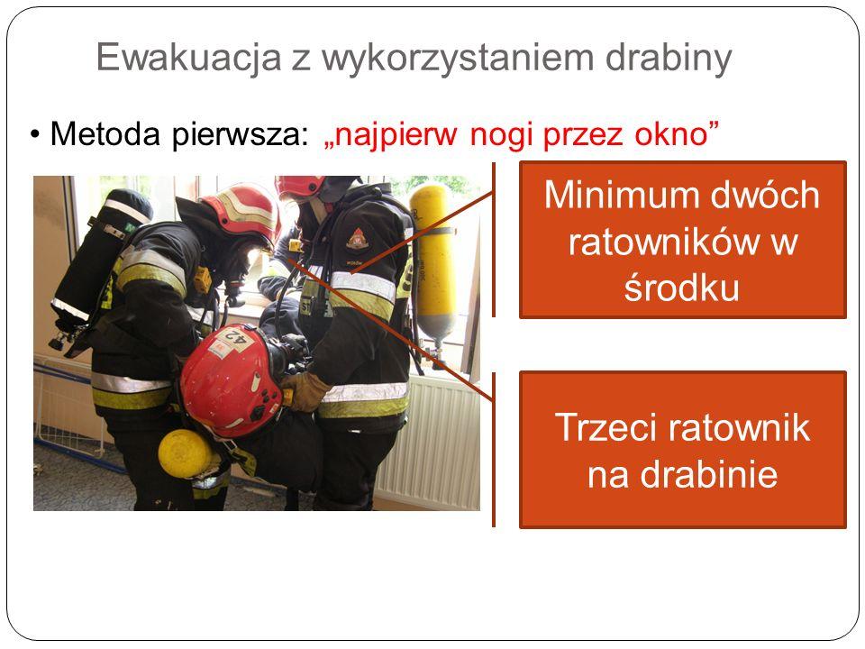 Ewakuacja z wykorzystaniem drabiny Metoda pierwsza: najpierw nogi przez okno Minimum dwóch ratowników w środku Trzeci ratownik na drabinie