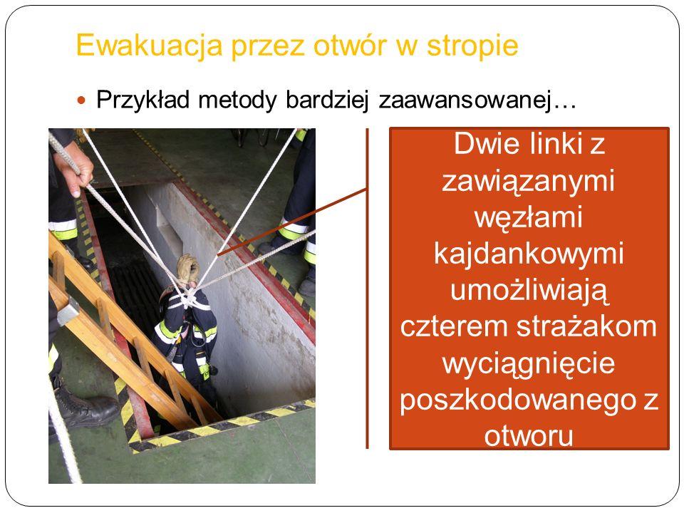 Przykład metody bardziej zaawansowanej… Dwie linki z zawiązanymi węzłami kajdankowymi umożliwiają czterem strażakom wyciągnięcie poszkodowanego z otwo