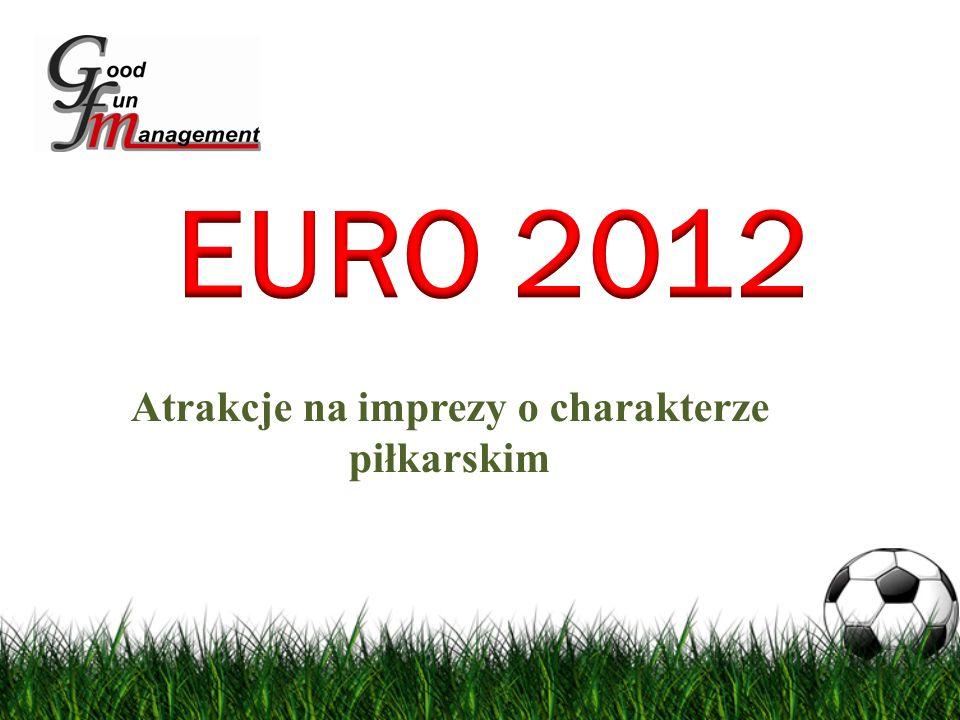 W związku z nadchodzącymi Mistrzostwami Europy w Piłkę Nożną Euro 2012 przygotowaliśmy dla Państwa wiele interesujących i oryginalnych atrakcji do wykorzystania na imprezach o tematyce piłkarskiej, zarówno w obiektach jak i na otwartym powietrzu: - Symulator Rzuty Karne – Jedyne takie urządzenia w PolsceSymulator Rzuty Karne – Jedyne takie urządzenia w Polsce - Symulator BramkarzSymulator Bramkarz - Symulator Mecz PiłkarskiSymulator Mecz Piłkarski - Symulator Strzały na BramkęSymulator Strzały na Bramkę - Stanowiska do gry w gry piłkarskie na konsolachStanowiska do gry w gry piłkarskie na konsolach - Mini boisko InDoorMini boisko InDoor - Piłkarzyki Stołowe Gigant Piłkarzyki Stołowe Gigant - Piłkarzyki Stołowe Standard Piłkarzyki Stołowe Standard - inne atrakcjeinne atrakcje
