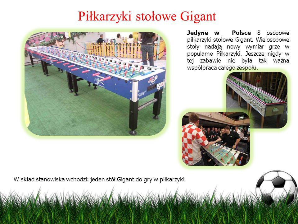 Piłkarzyki stołowe Gigant Jedyne w Polsce 8 osobowe piłkarzyki stołowe Gigant. Wielosobowe stoły nadają nowy wymiar grze w popularne Piłkarzyki. Jeszc
