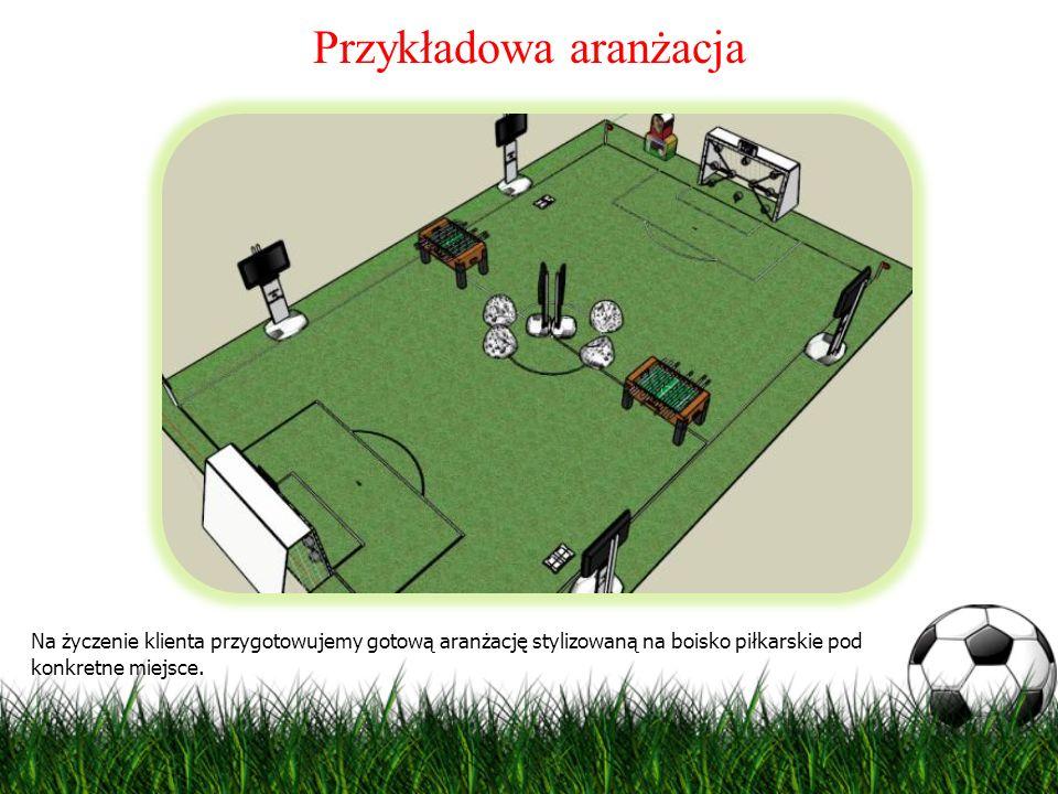 Przykładowa aranżacja Na życzenie klienta przygotowujemy gotową aranżację stylizowaną na boisko piłkarskie pod konkretne miejsce.