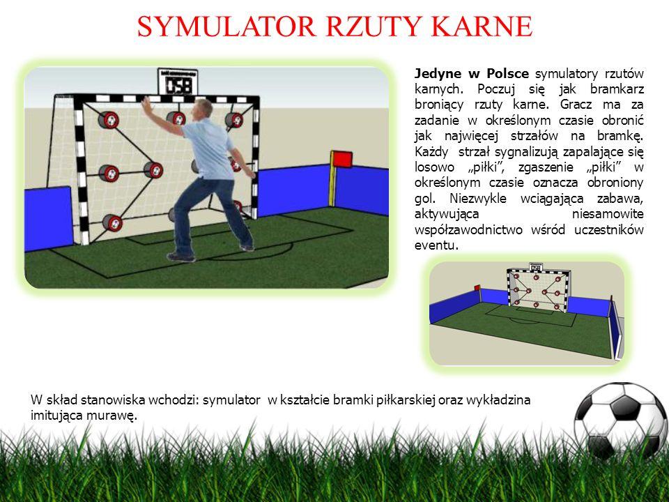 SYMULATOR RZUTY KARNE Jedyne w Polsce symulatory rzutów karnych. Poczuj się jak bramkarz broniący rzuty karne. Gracz ma za zadanie w określonym czasie
