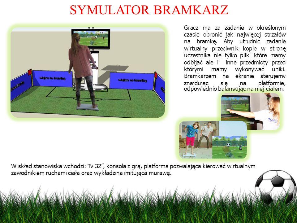 SYMULATOR BRAMKARZ Gracz ma za zadanie w określonym czasie obronić jak najwięcej strzałów na bramkę. Aby utrudnić zadanie wirtualny przeciwnik kopie w
