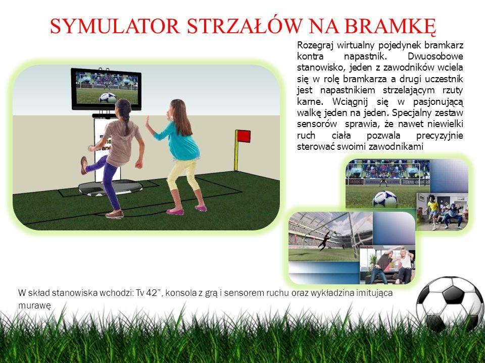 SYMULATOR STRZAŁÓW NA BRAMKĘ Rozegraj wirtualny pojedynek bramkarz kontra napastnik. Dwuosobowe stanowisko, jeden z zawodników wciela się w rolę bramk