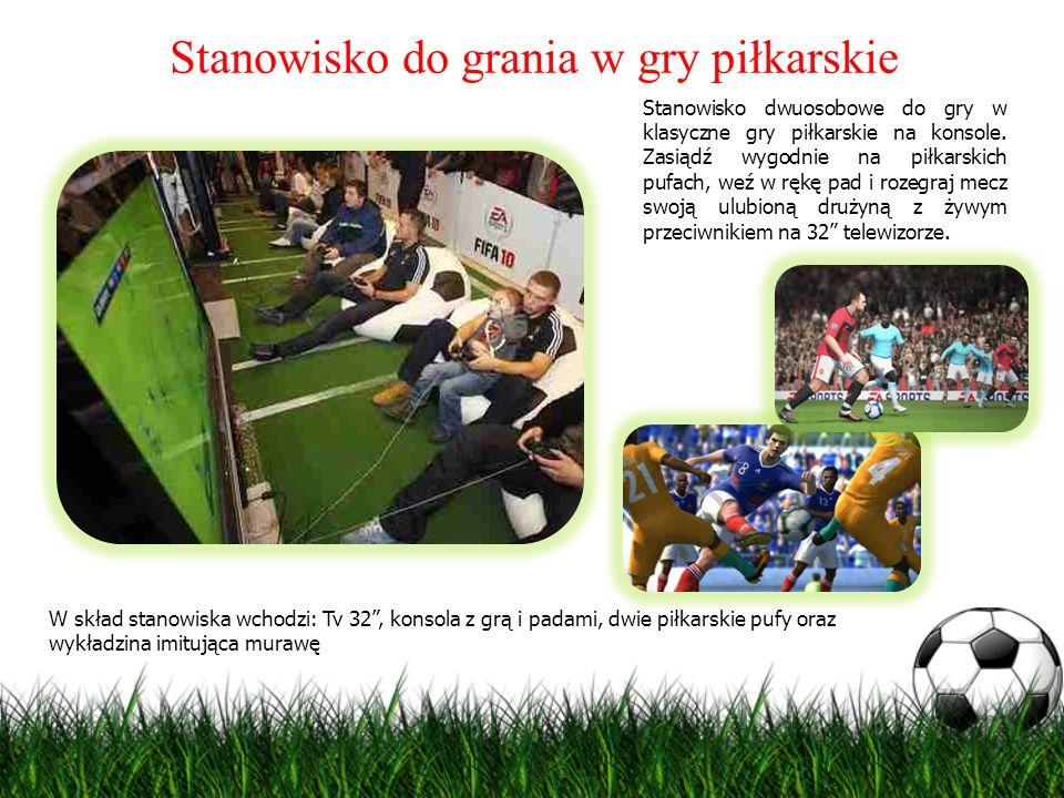 Stanowisko do grania w gry piłkarskie Stanowisko dwuosobowe do gry w klasyczne gry piłkarskie na konsole. Zasiądź wygodnie na piłkarskich pufach, weź