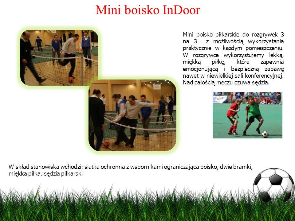 Mini boisko InDoor Mini boisko piłkarskie do rozgrywek 3 na 3 z możliwością wykorzystania praktycznie w każdym pomieszczeniu. W rozgrywce wykorzystuje