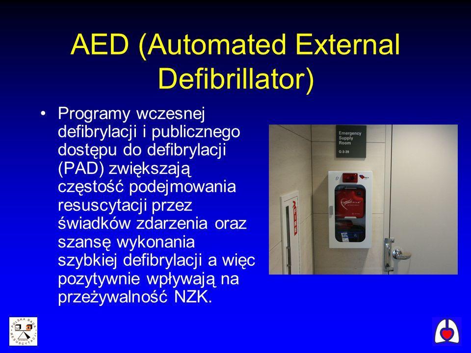 AED (Automated External Defibrillator) Programy wczesnej defibrylacji i publicznego dostępu do defibrylacji (PAD) zwiększają częstość podejmowania res
