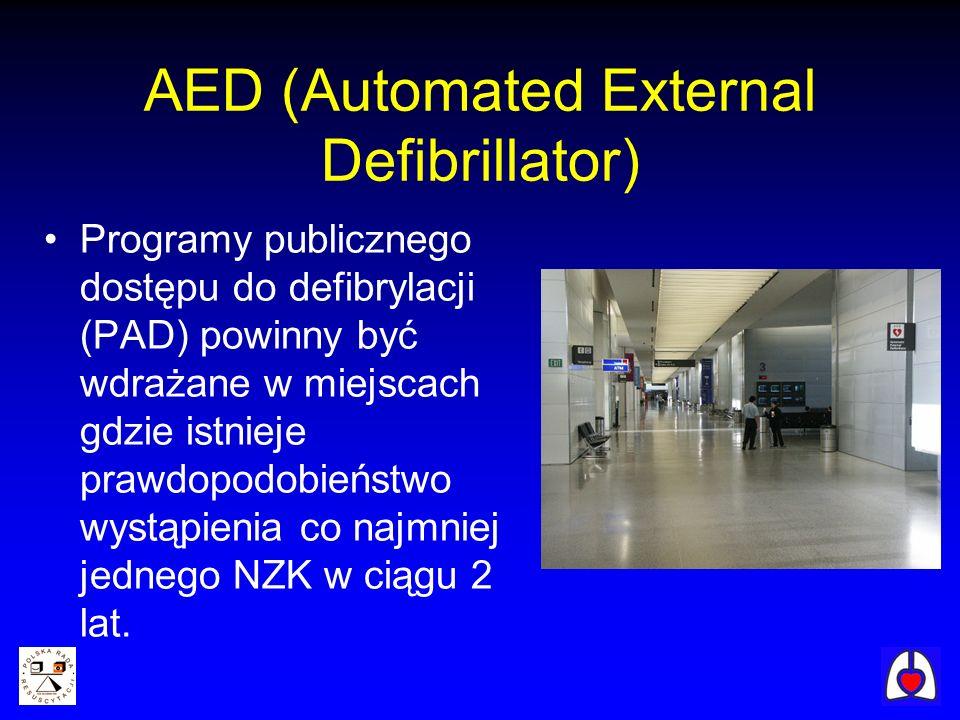 AED (Automated External Defibrillator) Programy publicznego dostępu do defibrylacji (PAD) powinny być wdrażane w miejscach gdzie istnieje prawdopodobi
