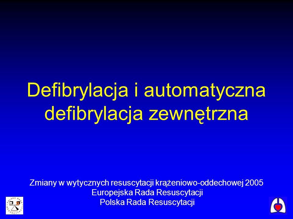 Defibrylacja i automatyczna defibrylacja zewnętrzna Zmiany w wytycznych resuscytacji krążeniowo-oddechowej 2005 Europejska Rada Resuscytacji Polska Ra