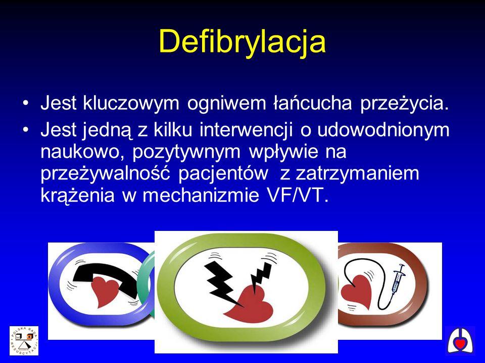 Defibrylacja Jest kluczowym ogniwem łańcucha przeżycia. Jest jedną z kilku interwencji o udowodnionym naukowo, pozytywnym wpływie na przeżywalność pac
