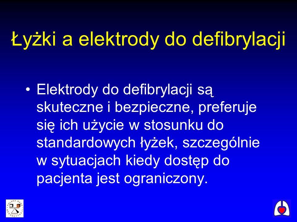 Łyżki a elektrody do defibrylacji Elektrody do defibrylacji są skuteczne i bezpieczne, preferuje się ich użycie w stosunku do standardowych łyżek, szc