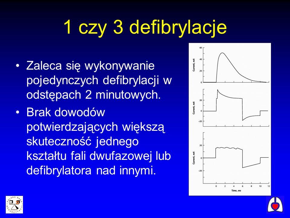 1 czy 3 defibrylacje Zaleca się wykonywanie pojedynczych defibrylacji w odstępach 2 minutowych. Brak dowodów potwierdzających większą skuteczność jedn