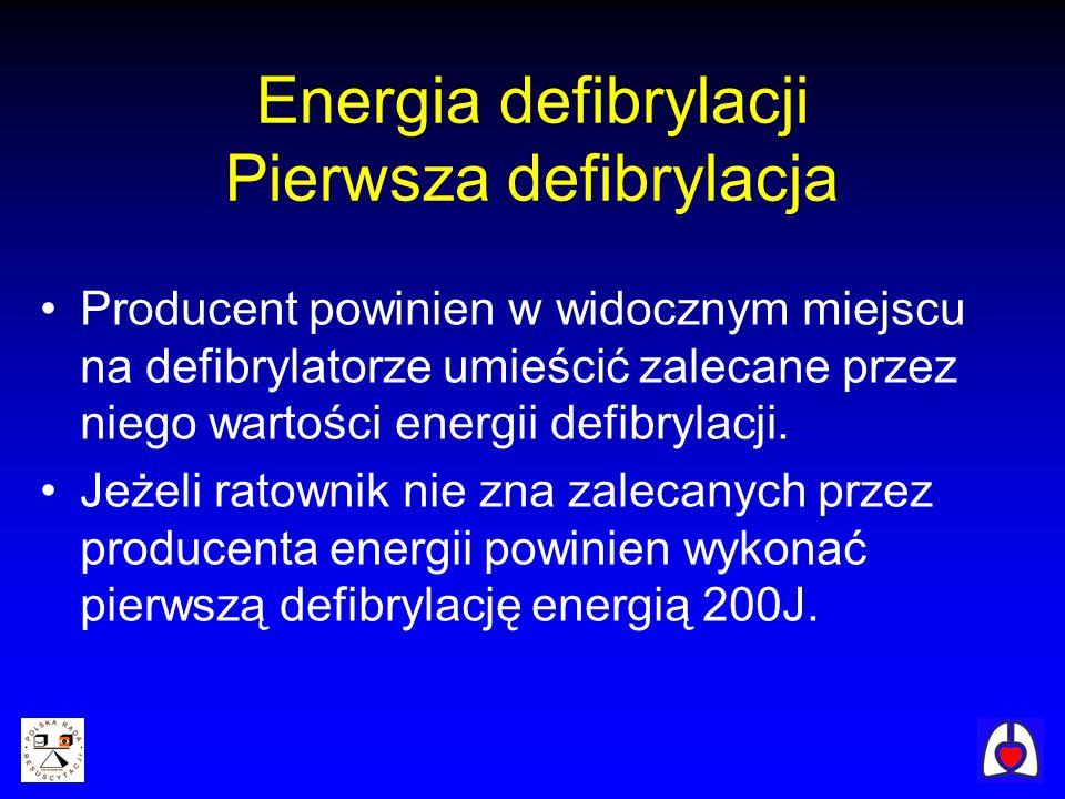 Energia defibrylacji Pierwsza defibrylacja Producent powinien w widocznym miejscu na defibrylatorze umieścić zalecane przez niego wartości energii def