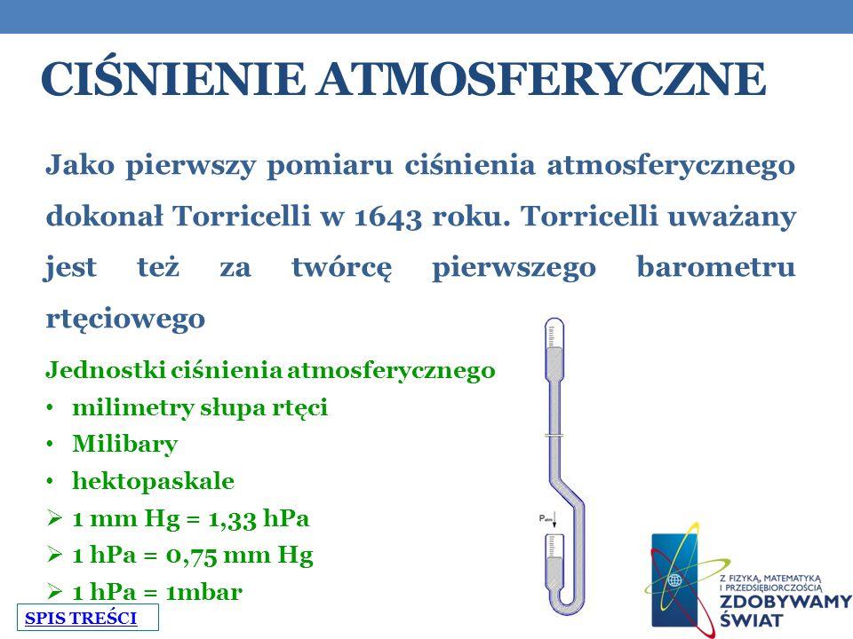 CIŚNIENIE ATMOSFERYCZNE Jako pierwszy pomiaru ciśnienia atmosferycznego dokonał Torricelli w 1643 roku.