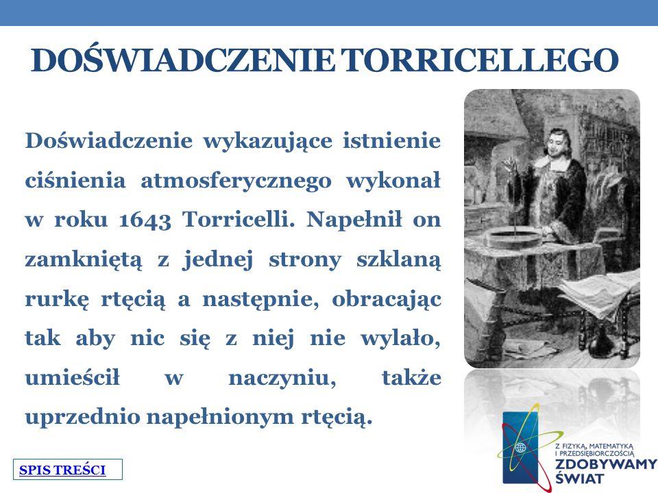 DOŚWIADCZENIE TORRICELLEGO Doświadczenie wykazujące istnienie ciśnienia atmosferycznego wykonał w roku 1643 Torricelli.
