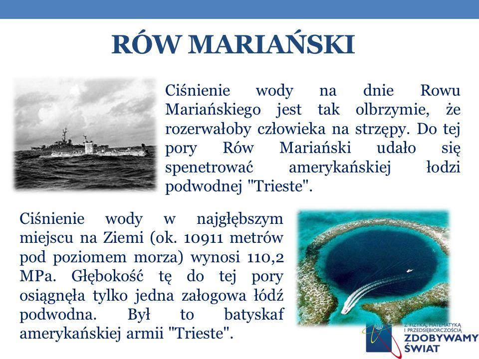 RÓW MARIAŃSKI Ciśnienie wody na dnie Rowu Mariańskiego jest tak olbrzymie, że rozerwałoby człowieka na strzępy.