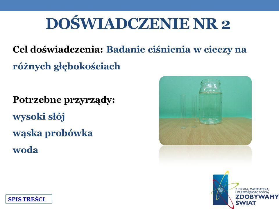 DOŚWIADCZENIE NR 2 Cel doświadczenia: Badanie ciśnienia w cieczy na różnych głębokościach Potrzebne przyrządy: wysoki słój wąska probówka woda SPIS TREŚCI