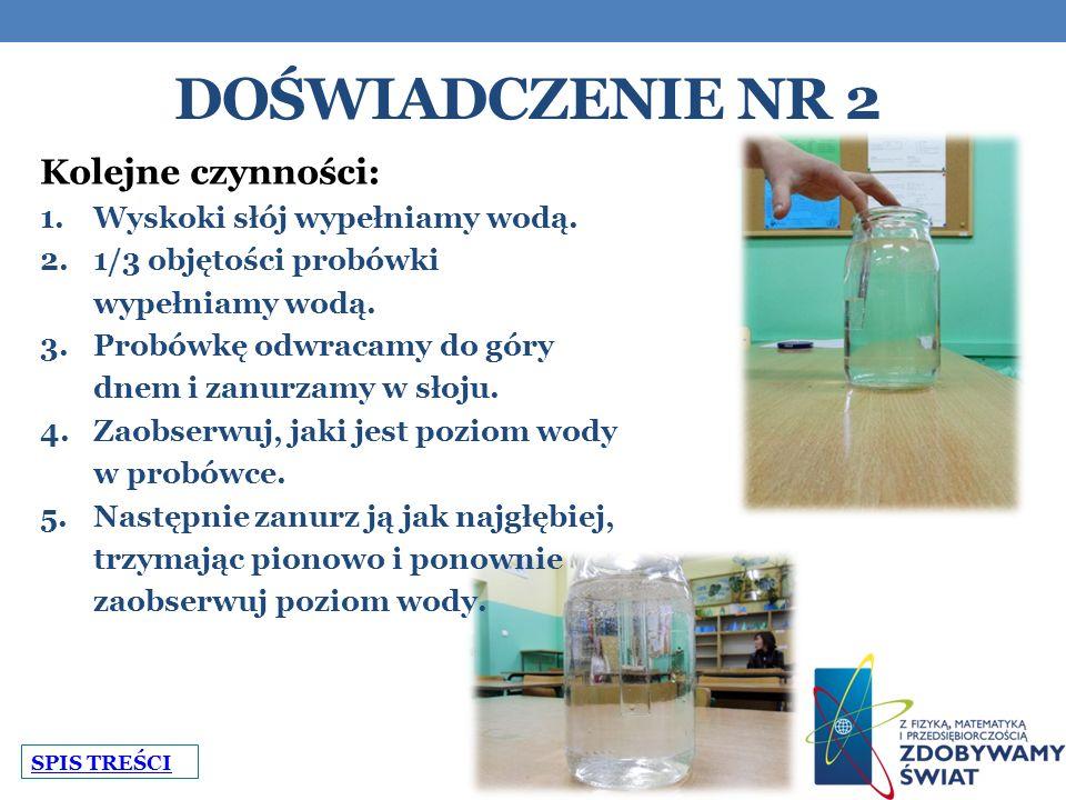 DOŚWIADCZENIE NR 2 Kolejne czynności: 1.Wyskoki słój wypełniamy wodą.