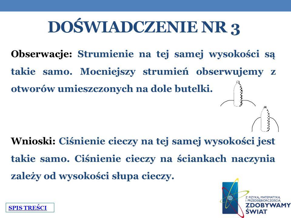DOŚWIADCZENIE NR 3 Obserwacje: Strumienie na tej samej wysokości są takie samo.
