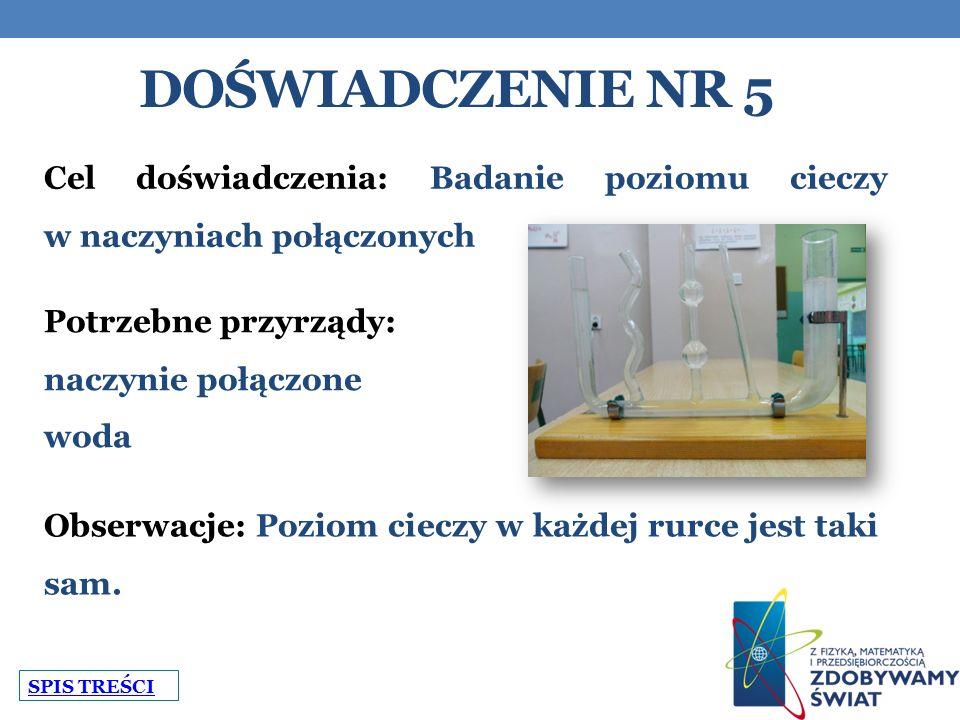 DOŚWIADCZENIE NR 5 Cel doświadczenia: Badanie poziomu cieczy w naczyniach połączonych Potrzebne przyrządy: naczynie połączone woda Obserwacje: Poziom cieczy w każdej rurce jest taki sam.